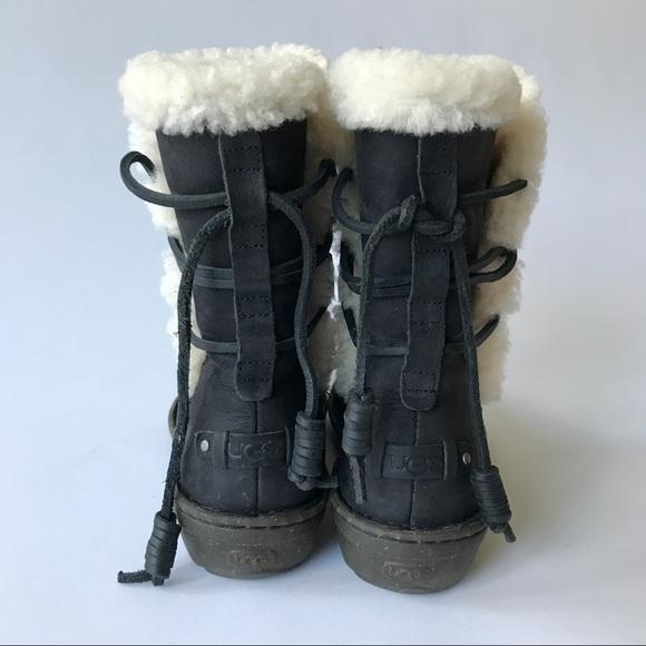 69% off UGG Shoes - UGG Akadia Boot Black Leather Lace Up Back from Elizabeth's closet on Poshmark