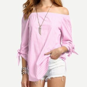 Off the shoulder tie cuff blouse/Pink. Price firm