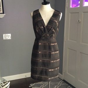 Max & Cleo Surplice Charcoal Brown Dress