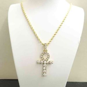 Other - 14k Gold Diamond Ankh Charm Rope Chain