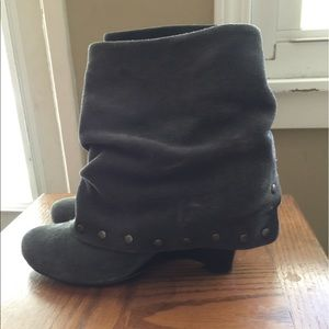 Grey suede cuff booties