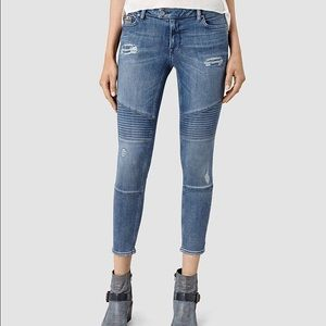 All saints Moto distressed skinny jeans sz 25