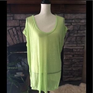 Free People beach burnout sheer lime swim coverup