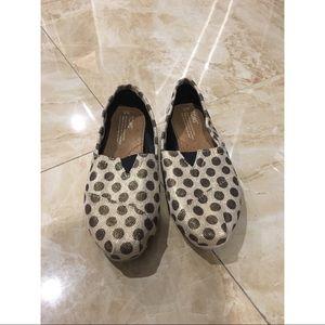 Toms Gold Polka Dot Slip On Shoes