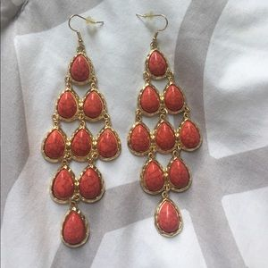 Jewelry - Coral and gold statement earrings