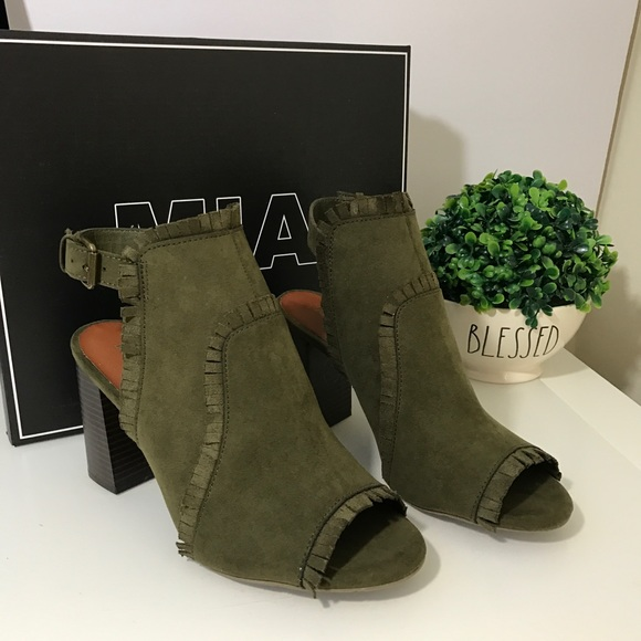 aa186357629 Olive green suede peep toe heel strappy sandals