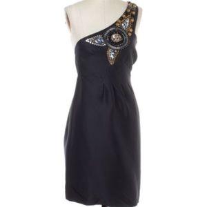Tibi one shoulder silk embellished dress