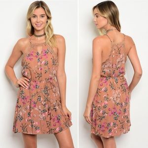 Mocha Floral Summer Dress