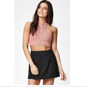 Kendall & Kylie Crochet Scalloped Halter Top