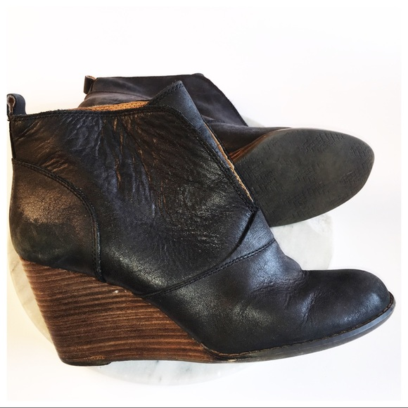 Lucky Brand Black Leather Wood Heel Wedge Booties