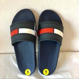 Bnwt Tommy Hilfiger Navy Men'S Elwood Slide Nwt Tommy Hilfiger Elwood Slides Shoes