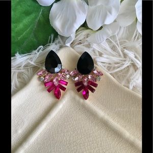 Black & Pink Gold Statement Earrings