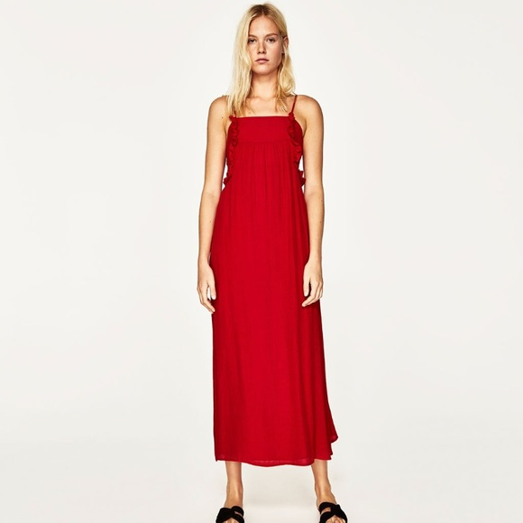 Zara Dresses - NWT Zara basic collect red tie maxi dress