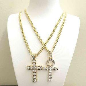 Other - 14k Gold Diamond Cross Ankh Pendant Set