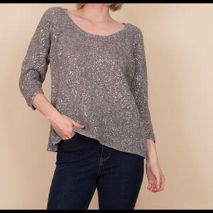Eileen Fisher silver gray linen knit sweater