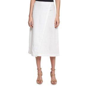 nwot eileen fisher white linen A-line wrap skirt