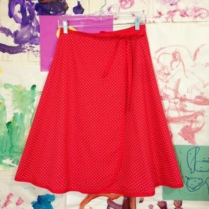 Vintage midi length red polka dot reversible wrap