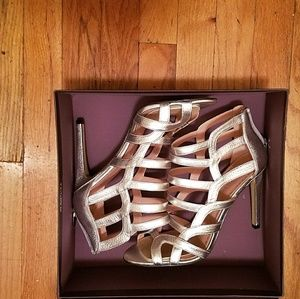 Leather Silver Caged Heels