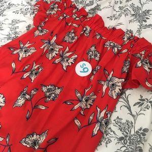 Dresses & Skirts - Red Floral Off-The-Shoulder Dress