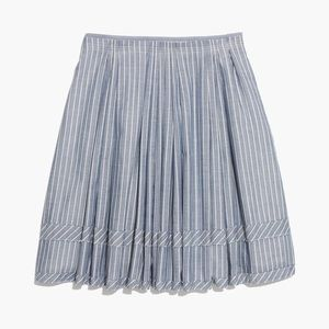 Madewell Striped Pleated Chambray Skirt