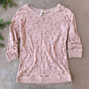 Eloise Anthropologie Dusty Pink Lace Floral Top