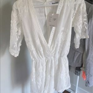 aeefce66d6 Reverse Other - White lace playsuit