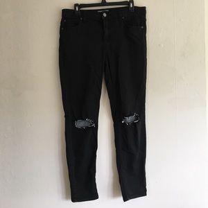 Free People Black Distressed Skinny Jeans