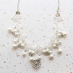 Lace pearl choker style statement necklace w jewel