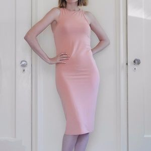 Pink Bodycon Knee-Length Pink Dress