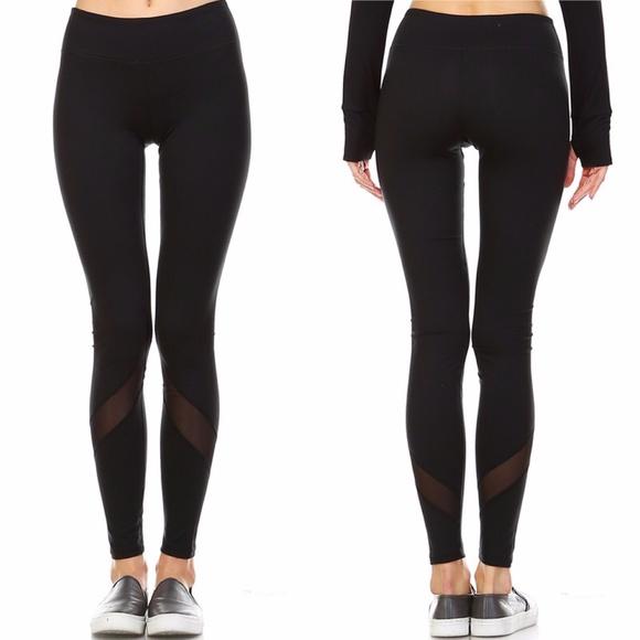 54% off Pants - Black Mesh YOGA PANTS NOT SEE THRU Butt ...