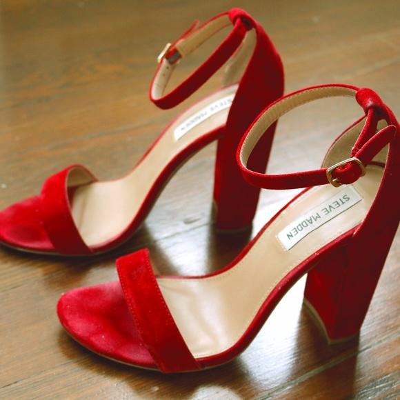 95d7936c51b Steve Madden Carrson Red Suede Block Heel Sandals