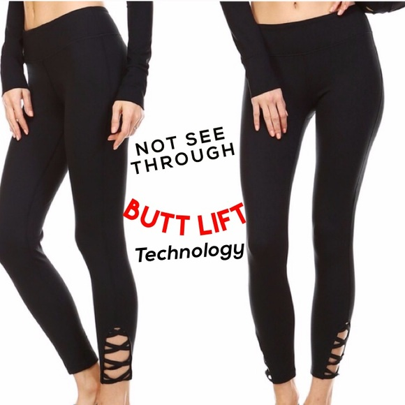NOT SEE THRU Black Yoga Pants Strappy Tummy Tuck Boutique
