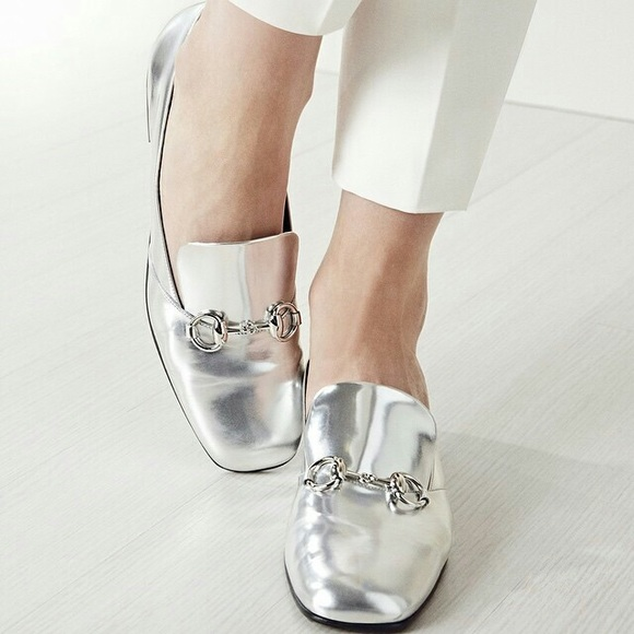 Gucci Shoes - Gucci Kira Silver Loafers b29722843a72