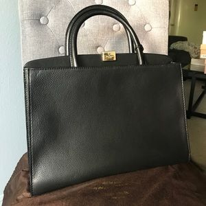 Kate Spade blk leather & gold top handle LIKE NEW!