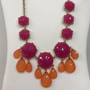 Magenta and orange statement necklace