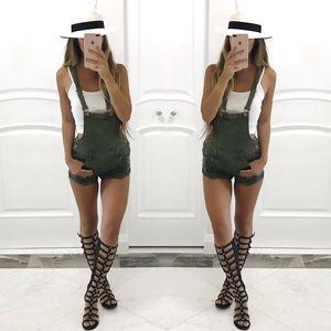 Denim - ❗️ONE left❗️Robyn Olive Green Overalls
