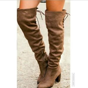 Shoes - Suede over the knee boots