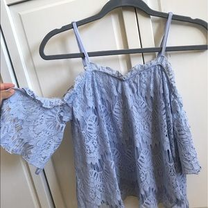 lace off the shoulder blue top