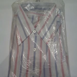 Vintage Red White and Blue Striped Shirt Size 16