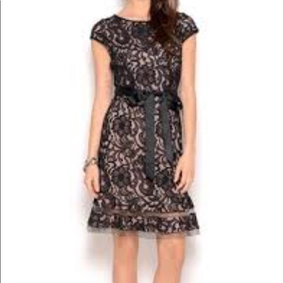 Sl Fashions Dresses Black Lace Cap Sleeve Dress With Nude Lining