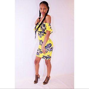Yellow Flower off the Shoulder Midi Dress