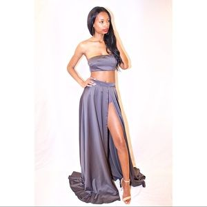 Dresses & Skirts - Grey Bandeau Top With Hight Slit Maxi Skirt Set