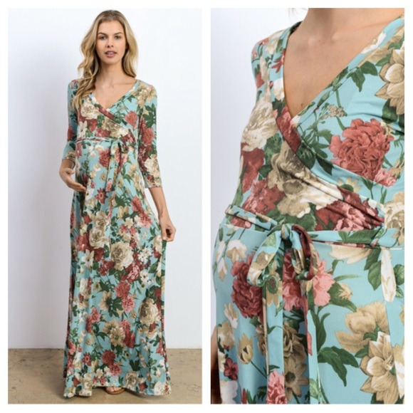 d24cf7422d203 Dresses | Gigi Floral Maternity Wrap Maxi Dress | Poshmark