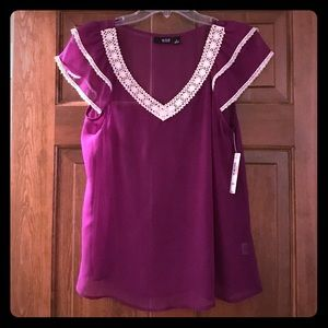 a.n.a purple top with cream lace size medium NWT