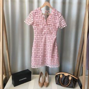 Pink Lace Overlay Mini Dress