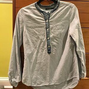 Blue half-button down blouse
