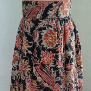 1970s Long High Waisted Floral Skirt size 7