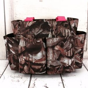 Handbags - Camo Organizer Tote With Hot Pink Trim