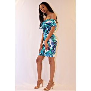 Blue Multi Print Off The Shoulder Dress