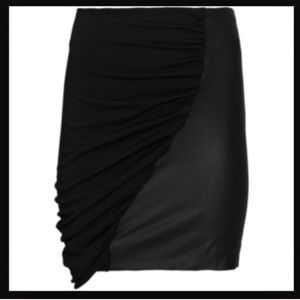 Leather + fabric skirt